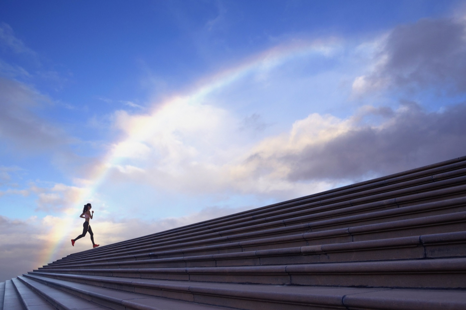 stairs-woman-runing